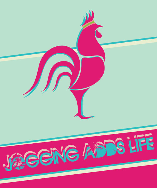 Lonely Rooster Jogging Adds Life illustration