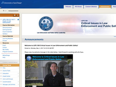 University of San Diego online course UI